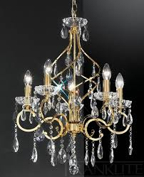 franklite fl2159 5 chiffon gold 5 light crystal ceiling light enlarge image