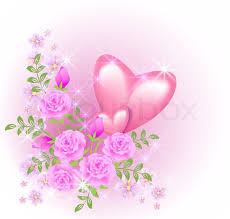 Pictures Of Hearts And Flowers Pink Hearts With Flowers Stock Vector Colourbox