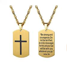 yamily cross dog tag engraved letter stainless steel pendant necklace jewelry for men
