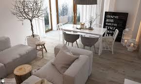 jadalnia idealnie wpisuje się w aranżację salonu w stylu skandynawskim proste meble i drewniane elementy podkreślają