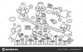 Schattige Engelen Vliegen Help Versier Elkaar Kerstboom Voor