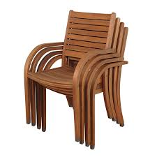 international home ia stackable set of 4 eucalyptus dining chairs with slat seat