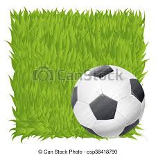 grass field background. Soccer Ball On Grass Field Background. Football Theme Vector Illustration Background