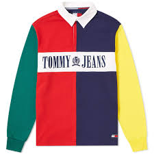 tommy jeans 90s colour block rugby shirt salsa multi 1