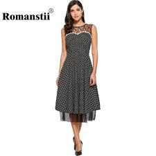 Romanstii Vintage Dress Casual Cotton O Neck Sleeveless Mesh ...