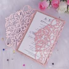 Invitation Quincenera Luxury Pink Shimmer Wedding Invitations With Glitter Bottom Laser Cut Quinceanera Invites Sweet 15 Birthday Party Invitation