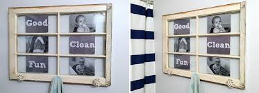 old window turned into a lovely towel holder with personal photographs diy projects