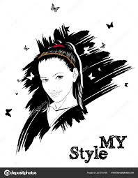 Beautiful Women Face Fashion Girls Illustration Young Woman Face