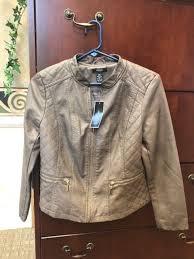 alfani moto leather jacket grey mocha petite medium coat