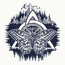 Obraz Keltský Trinitní Uzel A Motýl Helm Of Awe Aegishjalmur Tetování