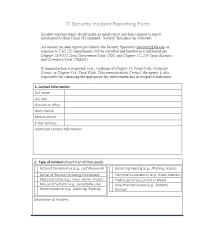 General Incident Report Template General Incident Report Form