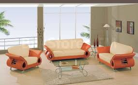 Orange Living Room Set 3 Pc Beige And Orange Leather Sofa Set Sofa Loveseat And Chair