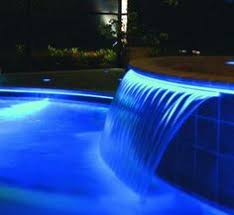 pool waterfall lighting. Correctly Designed Lighting Can Bring A Water Feature To Life At Night. Fibre Optic Illuminated Pool Waterfall