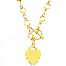 details about 14k solid yellow gold heart toggle pendant love charm link necklace 18 chain