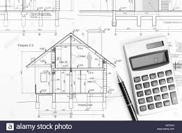 architectural drawings of modern houses. Architectural Drawings Of Modern House With Calculator And Pencil Houses E