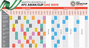 Asia Cup Chart Afc Asian Cup 2019 Schedule Pdf Quarter Finals Time Table
