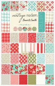 MODA Vintage Modern Bonnie Camille Red Aqua Blue Fabric Fat ... & -Vintage Modern Charm Square - Patchwork & Quilting Fabric - $15.00 : Fabric  Patch, Adamdwight.com