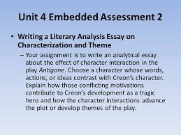 english ii honors daily warm up use the graphic  unit 4 embedded assessment 2 writing a literary analysis essay on characterization and theme your