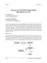 A Primer on Credit Default Swaps and RBI Guidelined on CDS