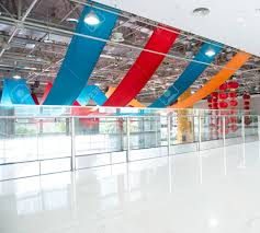 the office centre. Modern Office Centre With Colorful Cloth Hanging On The Ceiling For New Year In China