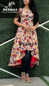 Kalamkari Churidar Neck Designs For Stitching High Low Kalamkari Printed Kurti Kalamkari Dresses Frock