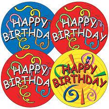 Happy Birthday Stickers Streamers 35 Stickers 37mm