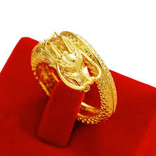 personality domineering dragon plated 18k gold lucky unique men open ring