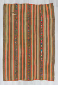 0715 vintage brown orange striped decorative turkish kilim