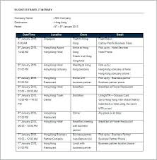 Agenda Template Word 2013 Travel Agenda Template Business Itinerary Sample Trip