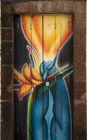 download street art open door blue flames editorial photo image of flames open door painting82 painting