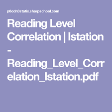 Istation Correlation Chart Reading Level Correlation Istation