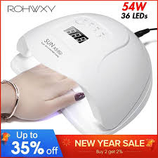 54w sun x uv led nail lamp dryer manicure machine 36 leds for gel polish drying curing with smart sensor