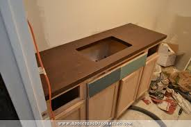 my stained i can t believe it s pine diy butcherblock countertop plus vanity paint color options