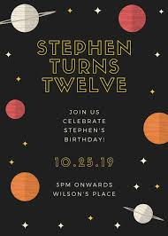 Space Party Invitation Black And Yellow Stars And Planets Space Kids Party