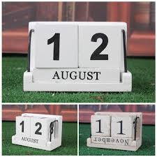 xmas gift vintage wood block perpetual calendar wooden office home desk decor h1 1 of 4only 4 available see more