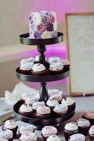 Purple Wedding Cake And Cupcake Display Picture Of Flavor