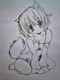 как нарисовать аниме девушку кошку карандашом поэтапно