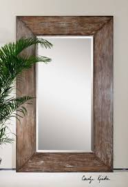 Large Antiqued Hickory-Tone Beveled Wall Mirror - Langford