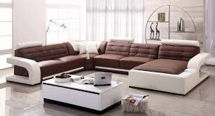 Two Tone Living Room Furniture Alluring Modern Sectional Sofas U Shape Leather Upholstery Brown