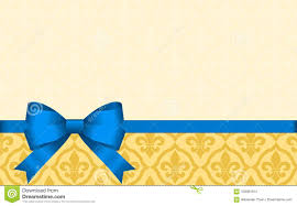 Blue Ribbon Template Gift Card With Blue Ribbon And A Bow Stock Vector Illustration Of