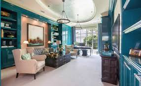living room with oceanside blue paint color