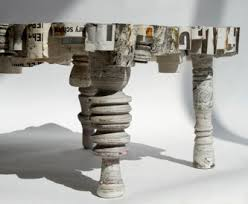 recycled paper furniture. i like the marble aspect of this furniture pieces see how many others you can do from recycled paper on her site here n