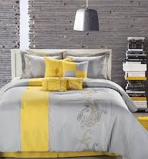 amazing grey and white comforter with yellow