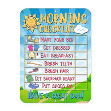 Honey Dew Gifts Morning Checklist Routine Reward Chart For Toddlers And Autism Metal Tin Sign For Durability And Easy Wall Mounting