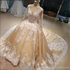 American Princess Size Chart 2018 Champagne Bridal Gowns With White Lace Applique Jewel Sheer Neck Long Sleeves Wedding Gowns Back Zipper Custom Wedding Dresses