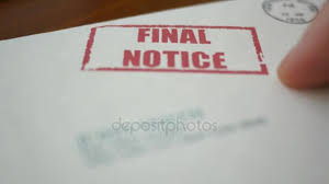 A Man Looking At Final Notice Foreclosure Letter From Bank — Stock ...