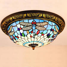 tiffany style flush mount ceiling light 2 leafy with crystals lamp uk