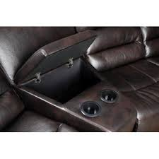 FOA Transitional Style LeathAire Rustic Brown Recliner Sectional Sofa Cup  Holder Storage Recliner With Cup Holder And Storage16
