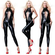 women y faux leather catsuit black metal chain hollow out suit high cut jumpsuit costume undf09517