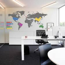 office world map. World Map Wall Decals For Luxury Interior In Office Layout Ideas With Modern White Table And Best Ergonomic Chair M